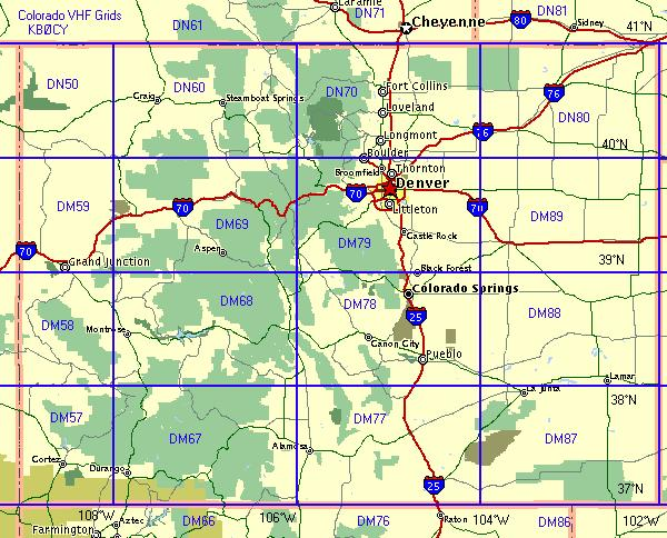 map of colorado state. Colorado Grid map.